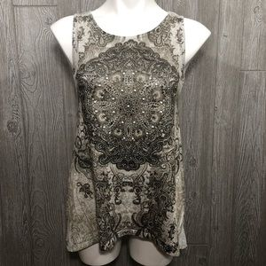 Dress Barn Gray Jeweled Patterned Tank Top